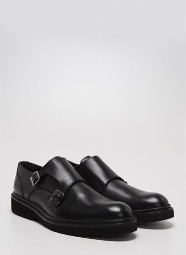 D by Divarese Deri Çift Tokalı Klasik Ayakkabı Siyah